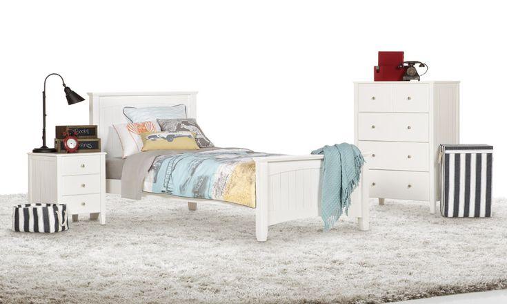 Charlie White Single Timber Kids Bed  Bedshed