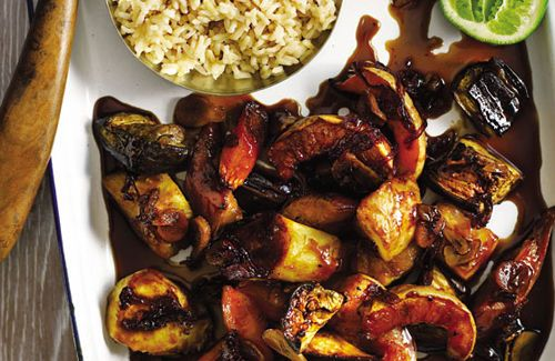 Caramel soy roast vegetables. Great with Asian meal.