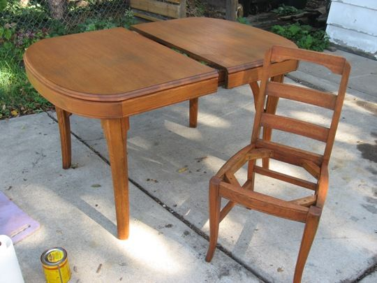 how to refinish a dining table chairs