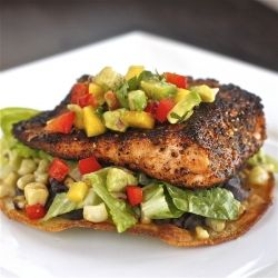 Chili-Rubbed Salmon and Grilled Corn Tostada with Mango Avocado Salsa