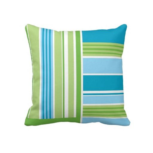 Blue & Green Stripe Throw Pillow