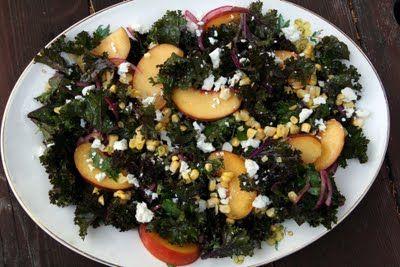 Kale, Peach, Corn and Feta Salad, I added almonds and avocado and used ...