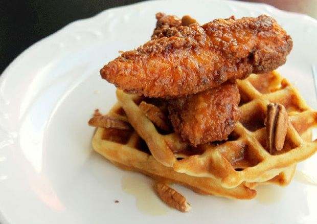Contessa's-Chicken-and-Buttermilk-Pecan-Waffles-with-Maple-Syrup ...