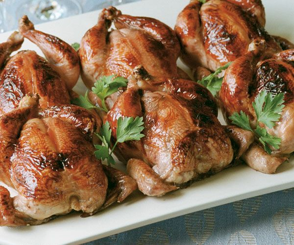 Glazed Roasted Cornish Game Hens with Couscous Stuffing | Recipe
