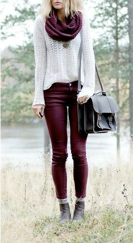 claret red scarf, white sweater, claret red jeans and black handbag