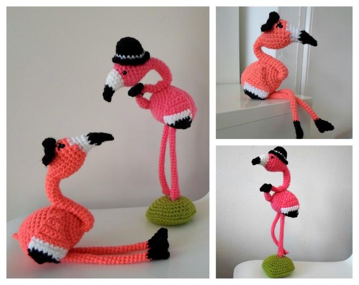 Amigurumi Hamburger Pattern Free : Mr & Mrs Flamingo crochet amigurumi pdf pattern