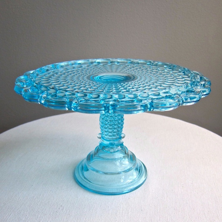 Victorian blue glass cake stand thousand eye pattern adams for Colored glass cake stand