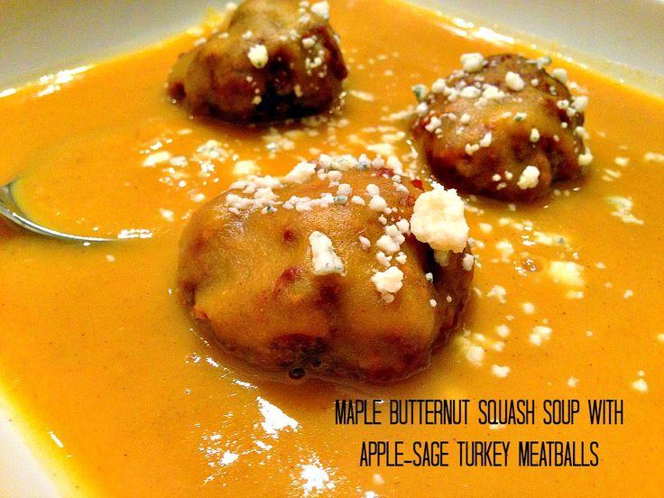Maple Butternut Squash Soup with Apple Sage Turkey Meatballs - A ...