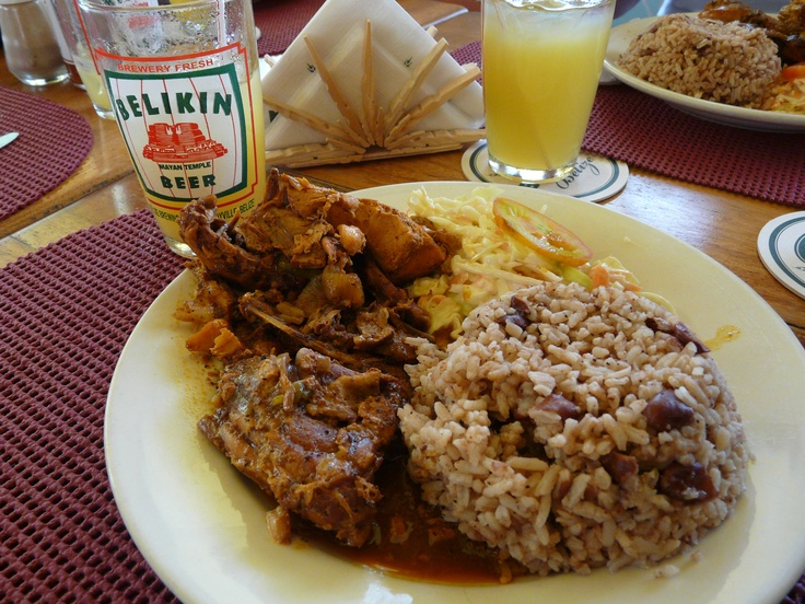 Stew chicken and rice and peas in Belize.