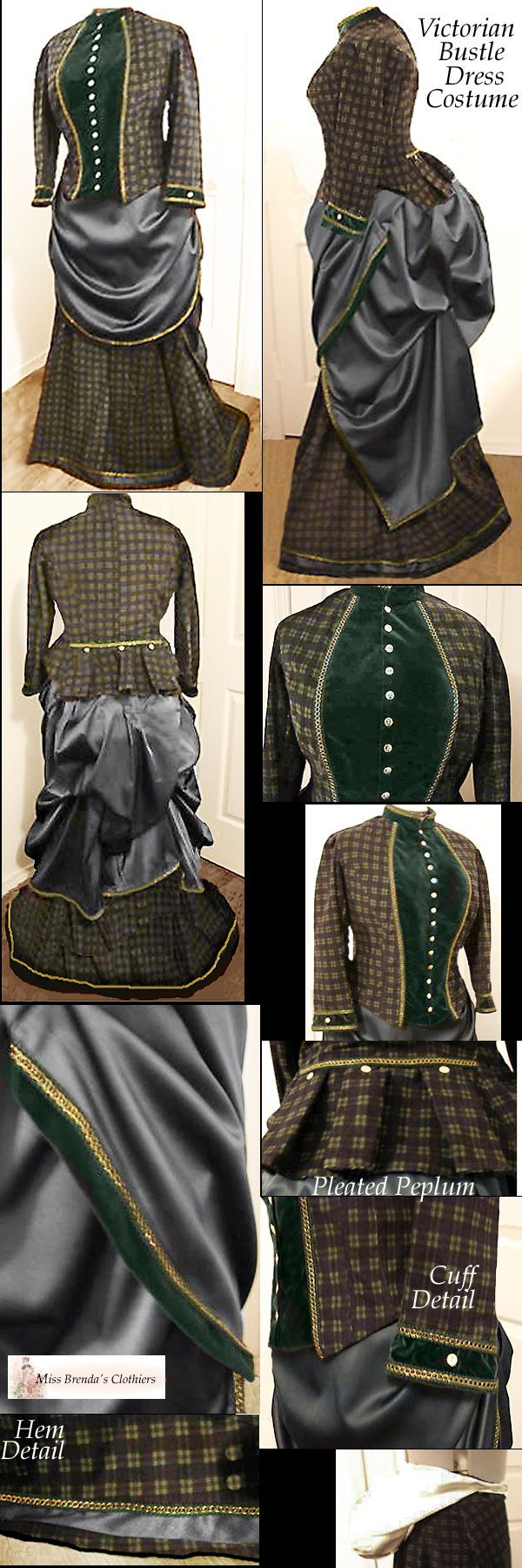 1886 Victorian Bustle dress costume reproduction with VELVET and plaidVictorian Bustle
