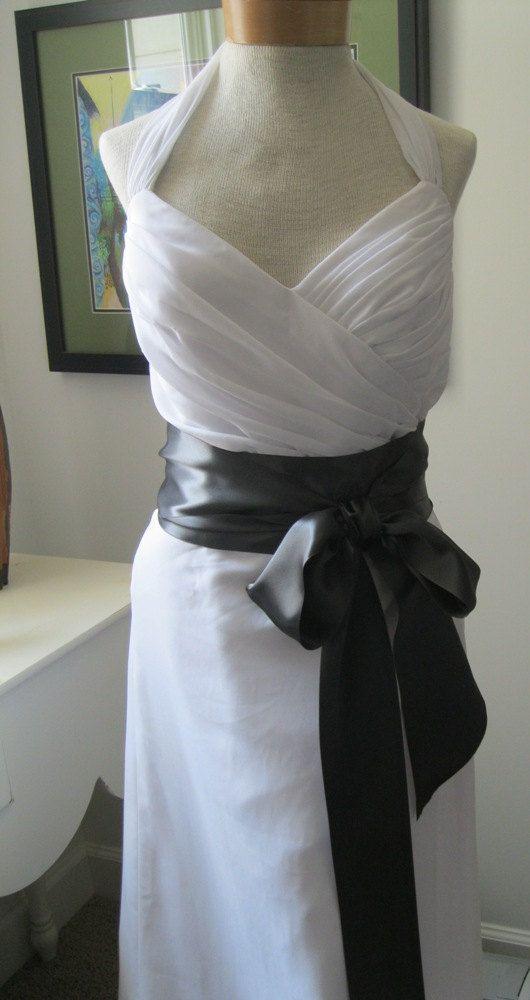 Charcoal gray wedding sash bridal sash a long satin for Charcoal dresses for weddings
