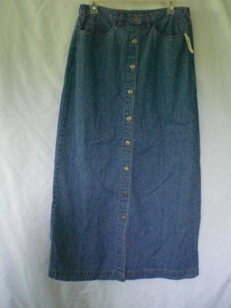 blue denim modesty skirt sz med western bobbie