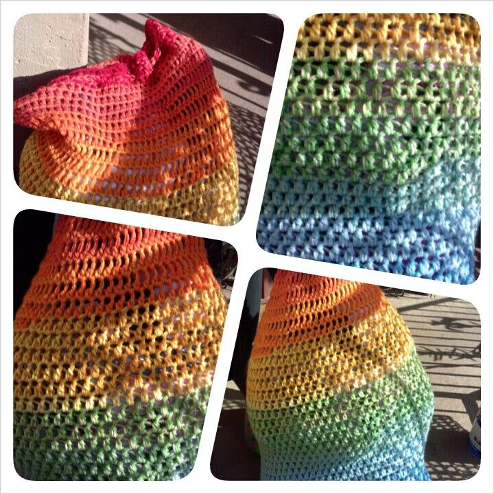 Crochet Laundry Bag : My rainbow crochet blended double stitch laundry bag