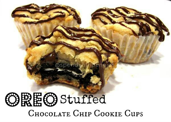 Oreo stuffed chocolate chip cookie cups | cookies | Pinterest