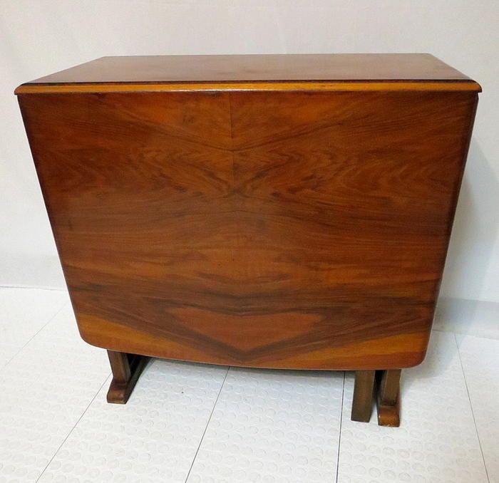 Antique Art Deco Flame Burl Walnut Drop Side Dining Room Table Gate L