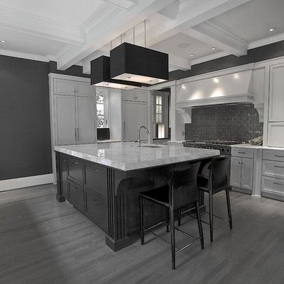 Pin by ck0221 on home inspiration pinterest for Grey kitchen cabinets with dark floors
