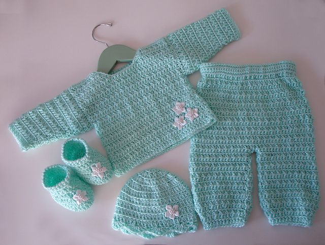 Crochet Patterns Baby Boy : Mint Green Newborn Baby Set (Crochet) pattern by Olga ...