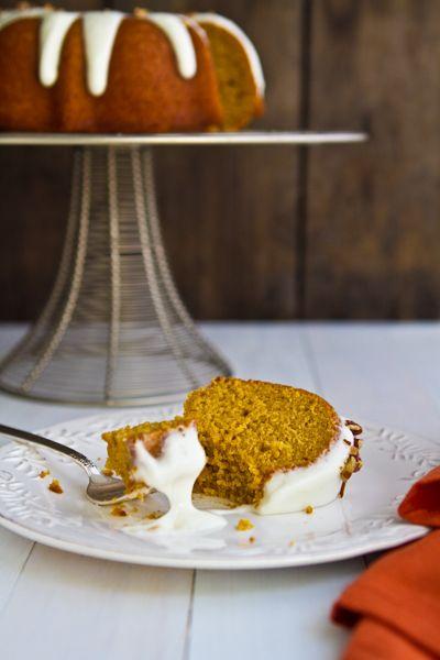 Bourbon Pumpkin Bundt Cake with Bourbon Cream Cheese Glaze | Recipe