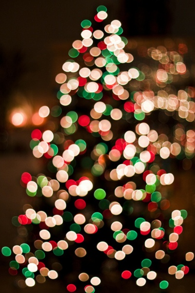 Twinkling tree in red, green and white