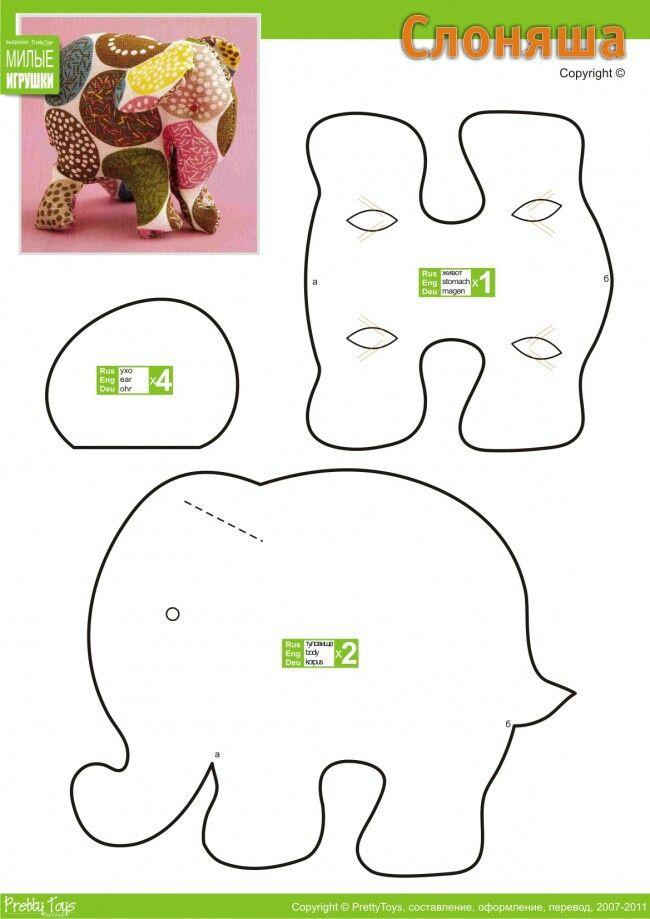 Molde elefante Bonecas / Dolls / Tildas / Toys Pinterest Игрушки, Выкройки и Слоны