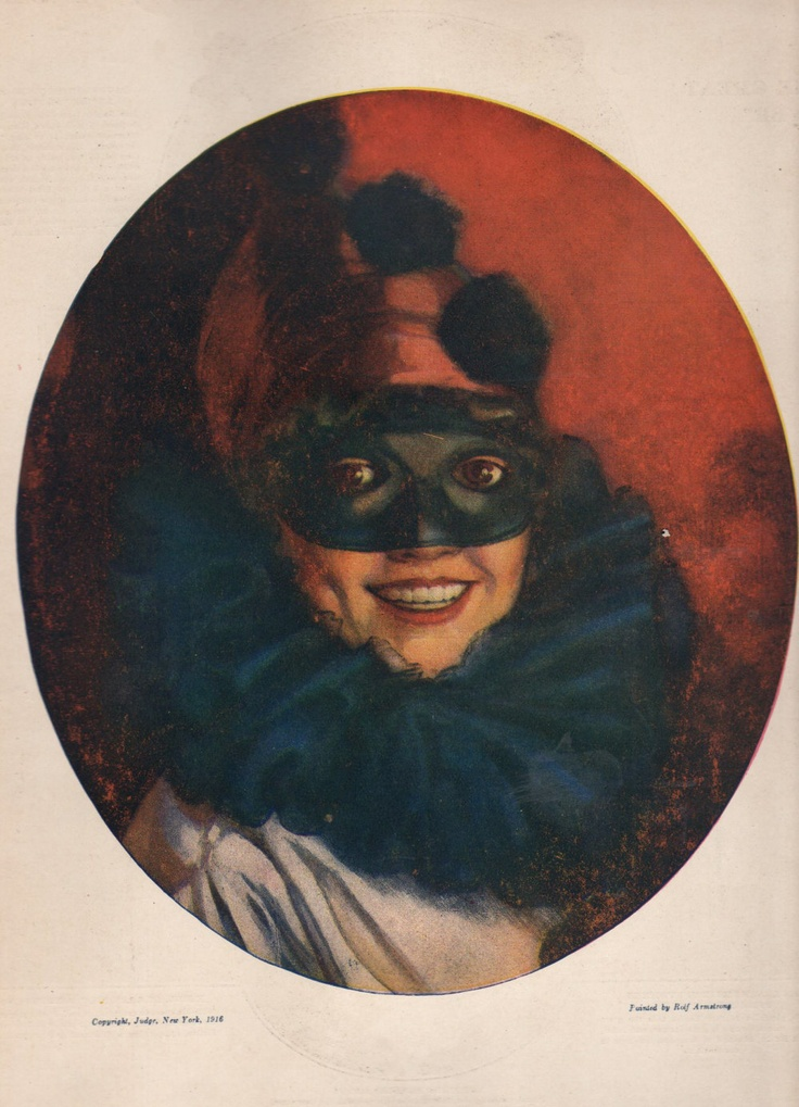 Rolf Armstrong 1916 Masked lady Masks & Balls Pinterest