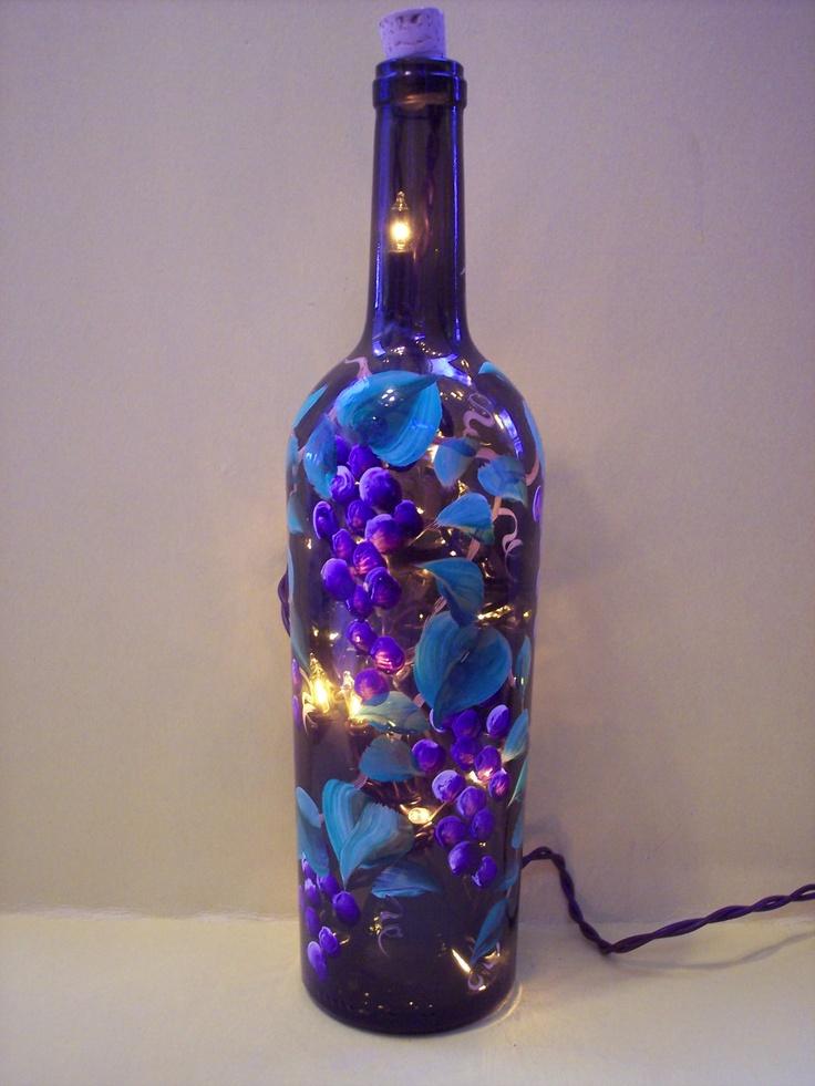 Grape lighted wine bottle for Light up wine bottles