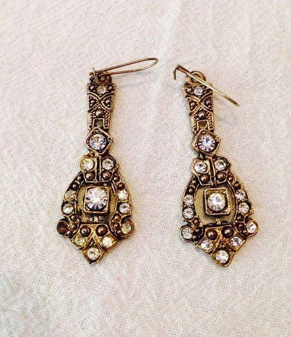 Vintage 1980 39 s art deco rhinestone dangle earrings costume for Art deco costume jewelry