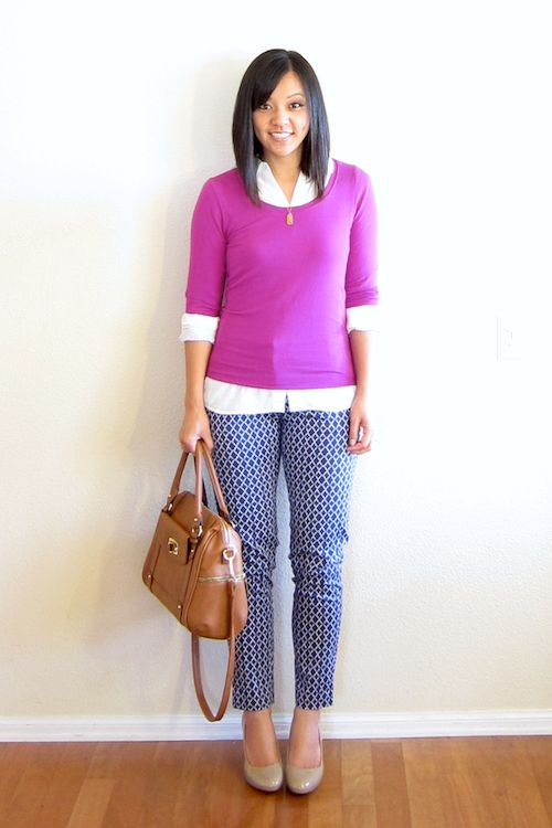 navy patterned pants / fuchsia sweater over white button-down / neutral accessories // member Audrey of Putting Me Together