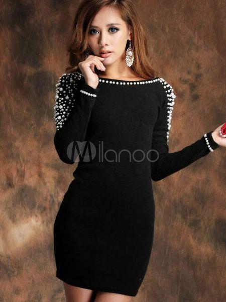 34 15 belle mini robe sexy noire avec perles dos. Black Bedroom Furniture Sets. Home Design Ideas