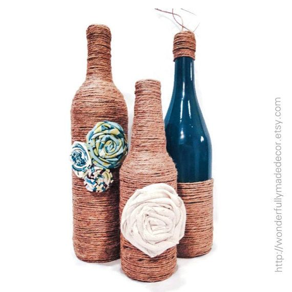 Recycled Wine Bottles . Painted Wine Bottles . Decorative Wine Bottle ...
