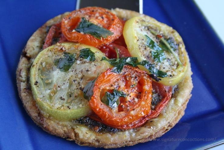 heirloom tomato tartlet. simple yet divine.