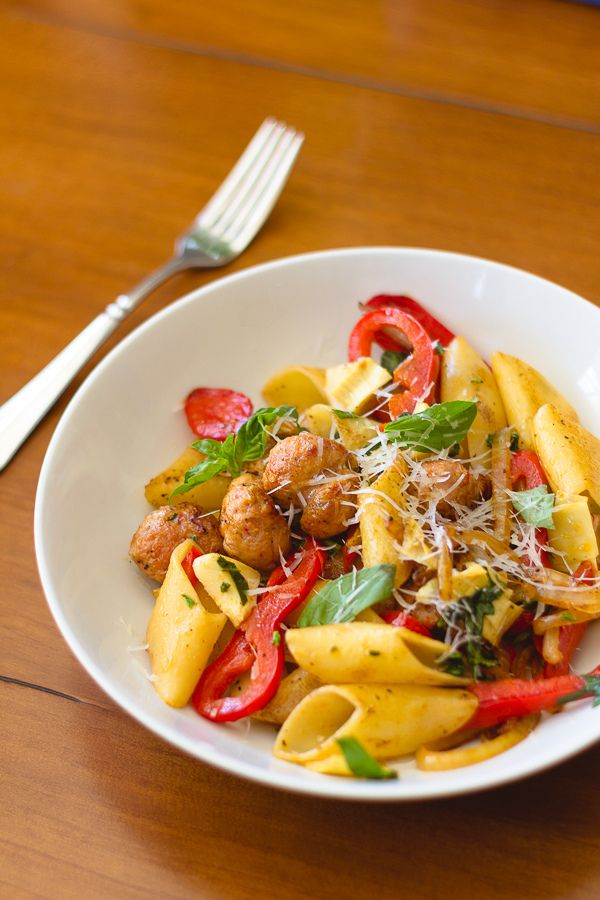 Pasta with Ital­ian Sausages, Basil and Meyer Lemons | Recipe