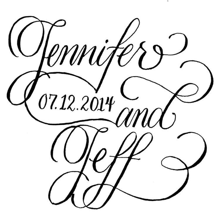 Custom calligraphy stamp by jennifer pinterest