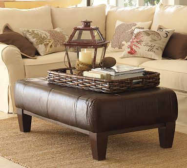 Sullivan Leather Rectangular Ottoman                                                                                          Would Love This Ottoman In Raw Umber Leather As The Anderson Club Chair