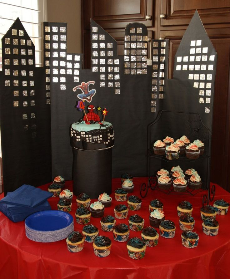 Spiderman city cake backdrop | birthday party ideas ...