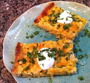 Fresh Corn, Poblano, and Cheddar Pizza | Recipe