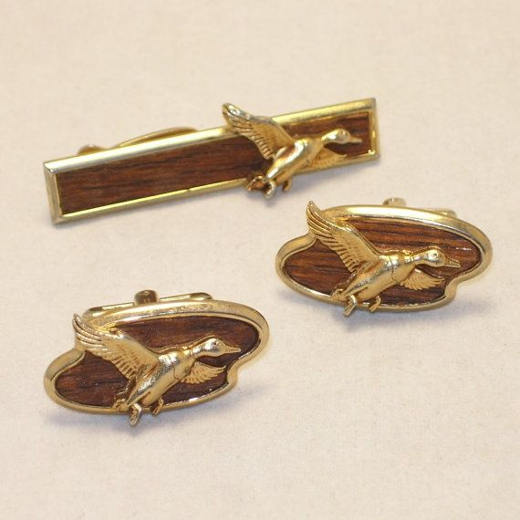 Duck tie clip cuff links set vintage 1970s hickok by swaggerman 24