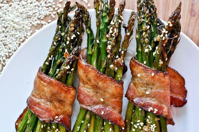 bacon wrapped caramelized sesame asparagus