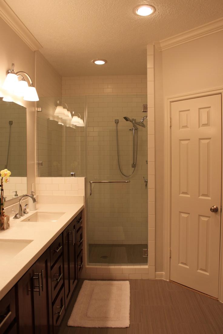 Expanded Shower With Frameless Glass Door Daltile Matte Subway Tile