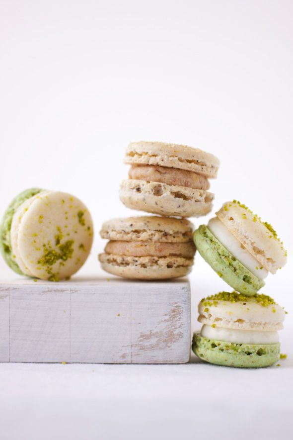Almond and Pistachio Macaron Shells with the Asian Pear Tatin and ...