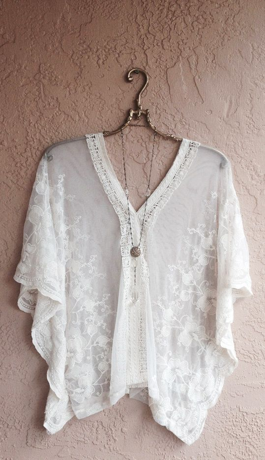 Sheer embroidered floral sleeve tunic
