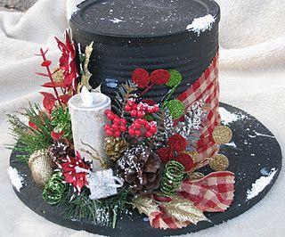 Snowman Hat Centerpiece (Made from a tin can) 9a602e35a20f9e45b285b05bb6c6c39f