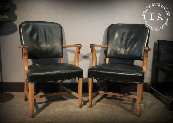Vintage industrial jasper chair company green leather and wood arm ch - Cb industry chair ...