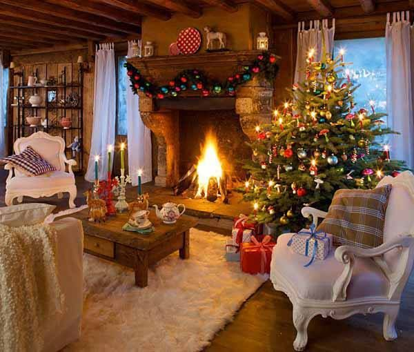Beautiful cozy christmas living room holiday for Room decorations christmas