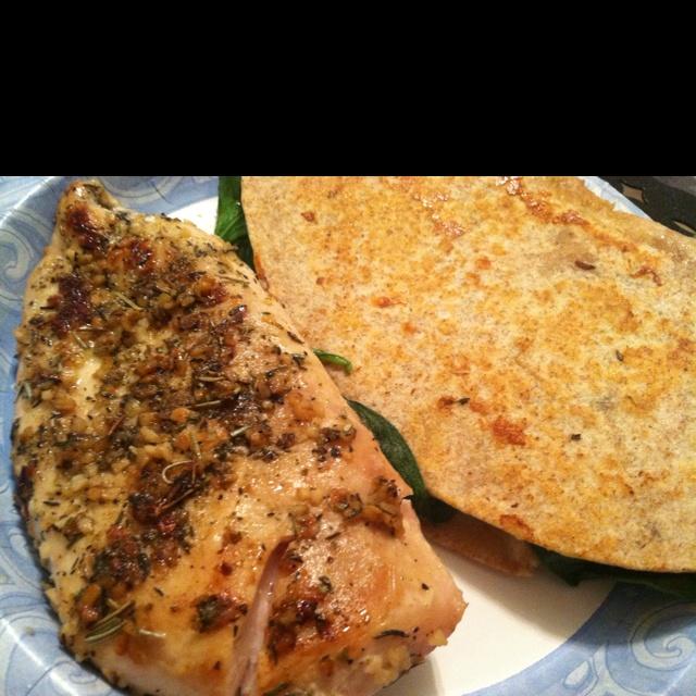 Sauteed chicken with spinach onion mozzarella and feta quesadilla
