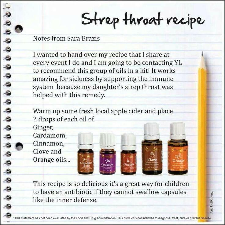 Strep throat recipe essential oils pinterest