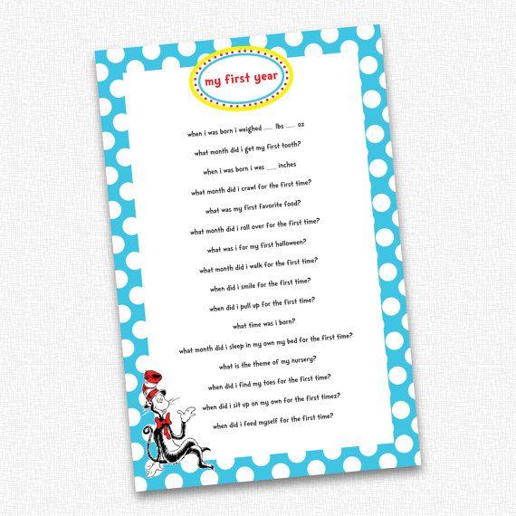 Dr Seuss Birthday Party  My First Year Quiz  PRINTABLE  ~ 220244_Birthday Party Ideas Quiz