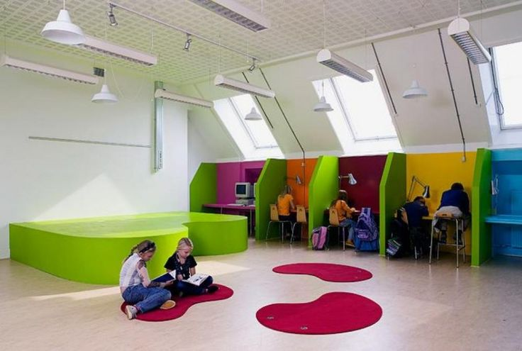 kids library design with computer