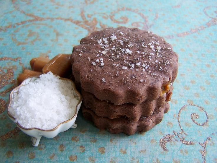 Chocolate Caramel Shortbread Cookies with Fleur de sel 1 Dozen - Swee ...