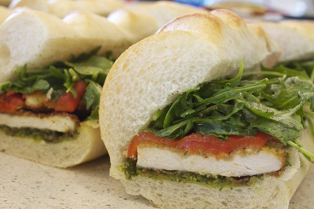 ... sandwich with pesto and roasted red peppers- The perfect Fall picnic